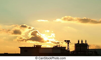 Beautiful industrial sunset