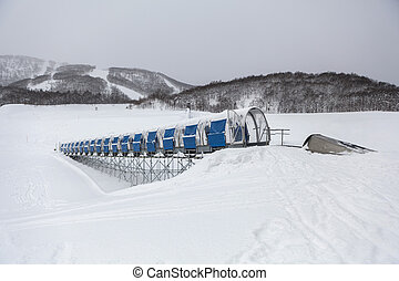 Moving walkway in ski resort in Hokkaido, Japan