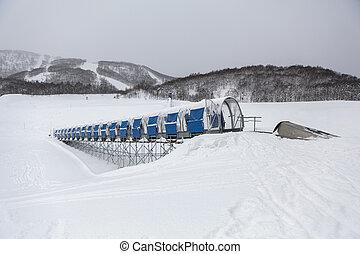 Moving walkway in ski resort in Hokkaido, Japan