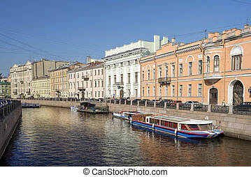 embankment of the Moyka River in Saint Petersburg, Russia -...
