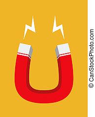 Magnet - Red magnet, flat design, vector eps10 illustration
