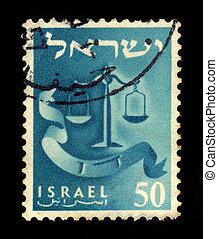 emblem of Dan Tribe - ISRAEL - CIRCA 1956: A stamp printed...