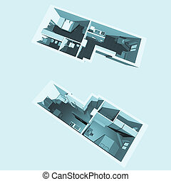 Home interior model of a modern flat (two perspective views)...