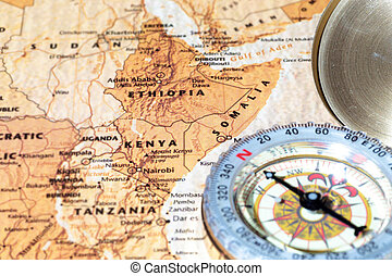Travel destination Kenya, Ethiopia and Somalia, ancient map...