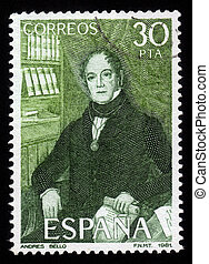 portrait of Andres Bello - Spain - CIRCA 1982: A stamp...