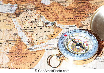 Travel destination Saudi Arabia, ancient map with vintage...