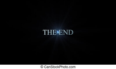 The end title - 3d blue metallic animation flying toward the...