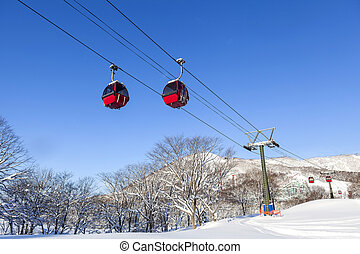 Cable car at ski resort in Hokkaido, Japan