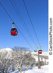 Cable car at ski resort in Hokkaido, Japan
