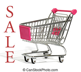 Empty shopping cart with the word - Sale - Empty metal...