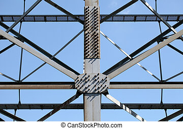 Metal framework - metal framework of seen against a blue sky...