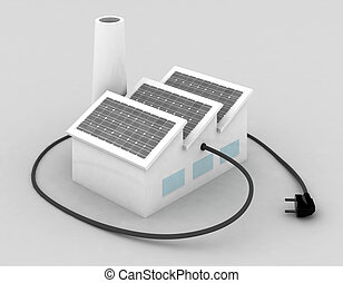 factory with solar panels and electric plug
