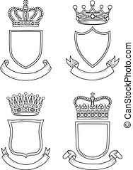 Shield, Banner, and Crown Set - A set of original,...