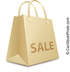 Sale shopping bag - Shopping bag with a sale tag. Vector...