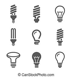 Light bulbs Bulb icon set