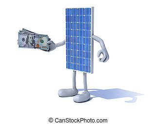 solar energy investment concepts - solar panel with arms and...