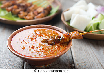 Delicious chicken sate - Malaysian chicken sate with...