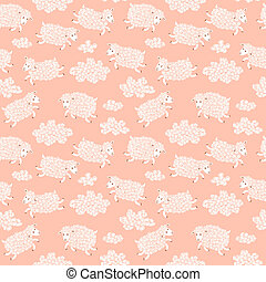 Seamless pattern with cute sheep and clouds. Vector...