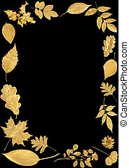 Festive Golden Leaf Border