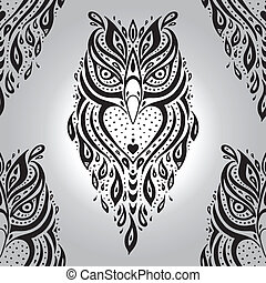 Decorative Owl Seamless pattern - Decorative Owl Polynesian...