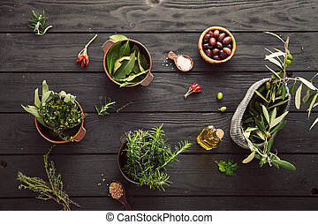 Mediterranean ingredients - Olive oil with herbs...