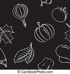 Seamless pattern with autumn vegetables and leaves. - Bright...