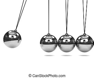3d Silver Newtons Cradle - 3d render of a Newtons Cradle in...