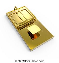 3d Gold mousetrap - 3d render of a gold moustrap