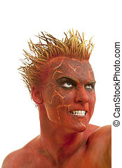 Red skin demon - Male actor playing role of daemon against...
