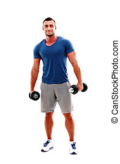 Full length portrait of a happy muscular man standing with...