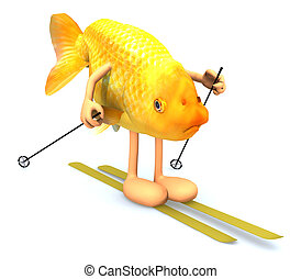 gold fish with arms and legs, ski and stick, 3d illustration