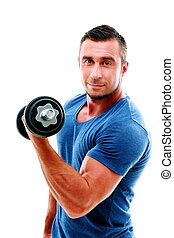 Happy sportsman doing exercises with dumbbell
