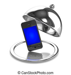 3d Smartphone silver service - 3d render of a silver service...