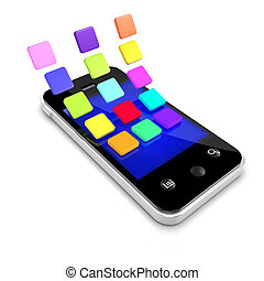 3d Smartphone with multi coloured icons - 3d render of a...