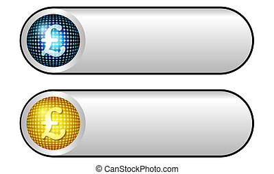 two vector silver buttons with pound symbol