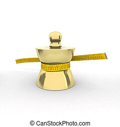 brass weight with tape meter 3d illustration