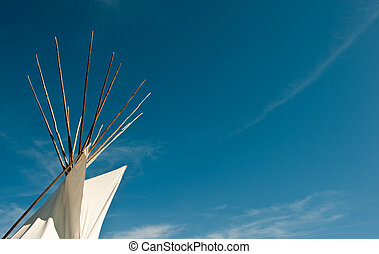 top of Tipi Tepee - top of Tipi and blue sky