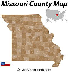 Missouri County Map - A large and detailed map of the State...