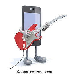 smartphone with arms and legs that play electric guitar, 3d...
