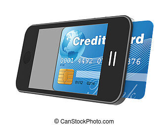 smartphone with credit card, concept digital payment, 3d...