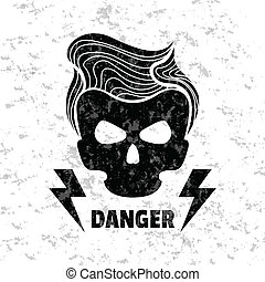 Skull hipster. Vector illustration. Template for design...
