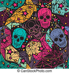 Skull with floral geometric ornament. - Skull with floral...