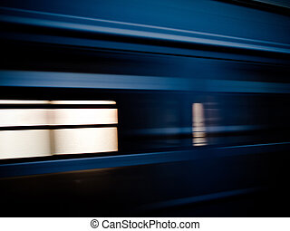 Passing train - High-speed train passing by, motion blur