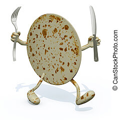 piadina with arms, legs fork and knife on hands, 3d...