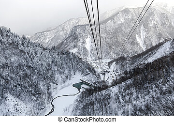 Aerial view of the winter from ropeway, Hokkaido, Japan