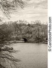 Central Park, New York City in winter at the Gapstow bridge.