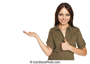 Surprised young woman showing open hand palm - Funny image...
