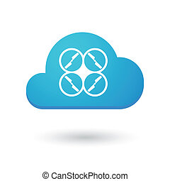 Cloud icon with a drone - Illustration of an isolated cloud...