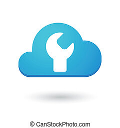 Cloud icon with a monkey wrench - Illustration of an...