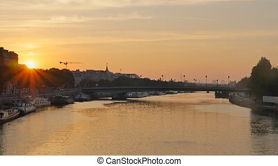 sunrise along the seine river - seine river at the sunrise...
